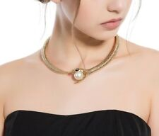 New Snake Women Choker Austrian Crystal Necklace Faux Pearl Gold Plated