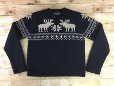 Abercrombie & Fitch Reindeer Sweater Mens Medium Hand Knit 100% Heavy Wool Navy