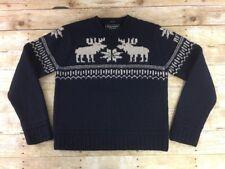 Abercrombie & Fitch Reindeer Sweater Mens Medium Hand Knit 100% Heavy Wool Navy