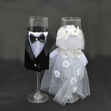 Mr & Mrs Bride And Groom Wedding Set Of 2 Champagne Flutes Wine Glasses Gifts
