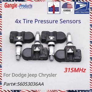 Set 4 Alligator TPMS Pressure Sensor 315MHz Rubber for 2007-2012 Dodge Nitro