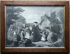 Antique Framed Print of John Wesley and Followers outside a Parish Church