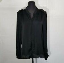 Ikks Womens Military Blouse Top Size 42 Zip Black Long Sleeve XL Shoulder Detail