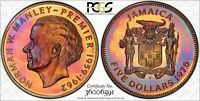 1975 JAMAICA FIVE SILVER DOLLARS PCGS PR67 CANDY COLOR TONING! VERY NICE!