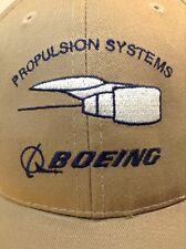 *RARE* BOEING AVIATION PROPULSION SYSTEMS Adjustable Hat Baseball Cap Tan Blue
