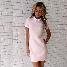 Women's Casual white Collar Short Sleeve Evening Party dress Short Dress fit