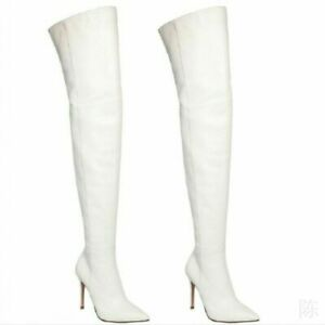 Women's White High Stiletto Heel Pointy Toe Over Knee Thigh Boots Shoes Pull On