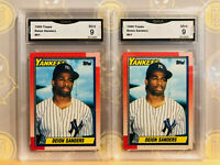 1990 Topps 2x Deion Sanders #61 Rookie RC -  9 MINT GMA Graded Baseball Card LOT