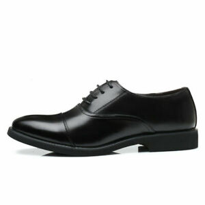 Men's Round Toe Oxfords Black Office Business Leisure Faux Leather Lace Up Shoes