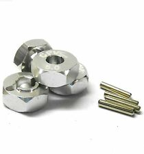 57815S 1/10 Scale RC M12 12mm Alloy Wheel Adaptors With Pins Nut Silver 5mm Wide