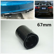67MM Glossy All Black Real Carbon Fiber Exhaust Tip Tail Pipe For M Performance