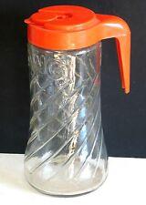 Vintage Anchor Hocking Tang 1 Qt Swirl Pitcher Carafe Plastic Lid FREE SH