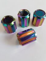 Neo Chrome Colourful Rainbow Car Van Bike Wheel Tyre Valve Metal Dust Caps x 4