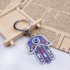 Turkey Blue Evil Eye Fatima Hamsa Hand Metal Key Chain Lucky Bag Car Protector