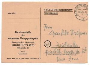 Drucksache Kriegsgefangenenpost 1948 Munsterlager Ankunft Minden Postkarte