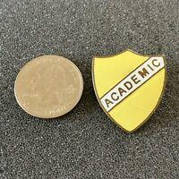 Vintage Academic Shield Yellow and White Pin Pinback #39463