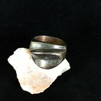 Vintage Taxco Sterling Silver Ring Modernist Band Sz 7 Abstract Patina 18g Curve