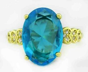 BLUE TOPAZ 5.82 Cts  & SAPPHIRES LADIES RING .925 SILVER PLATED * New With Tag *