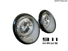 Porsche 911 930 European H4 LED Headlight Assembly w/ BLACK Trim Ring - PAIR