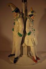 Original Vintage Art Deco Lámpara de Mesa con Base de niño y niña Pierrot's - francés?