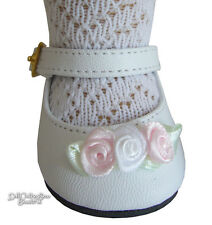 "Easter White Shoes with Rosebuds for 18"" American Girl Doll Clothes Accessory"