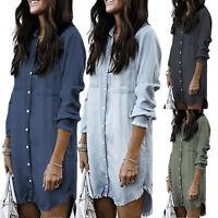 US Womens Casual V Neck Blouse Tassel Denim Tops Ladies Tunic T Shirt Mini Dress