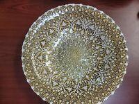 "Turkish Art Glass 15"" White/Gold Centerpiece Bowl Reverse Hand Painted"