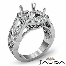 Diamond Engagement Cushion Semi Mount 18k White Gold Halo 1.25Ct Designer Ring