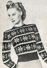 Vintage Knitting Pattern 1940s Lady's Fair Isle Jumper. Snowflake Christmas.