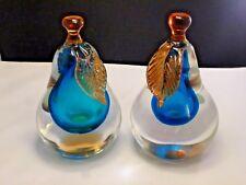 Murano Pear & Pear Somerso Bookends by Alfredo Barbini