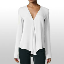Office Blouse Tops Shirts Women Ladies Summer Spring Casual M~2XL V-Neck Loose