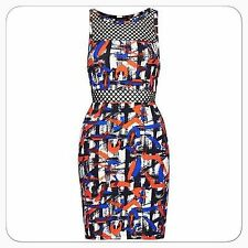 Stunning Topshop Blue White Multicolour Airtex Black Net Bodycon Dress Size 10