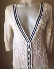Victoria's Secret PINK Size M Cable Knit Cardigan Sweater 3/4 Sleeve Button