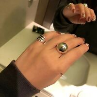 925 Silber Ring Halbkugel glänzend oder gebürstet verstellbar