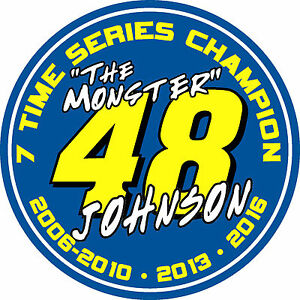 #48 Jimmie Johnson 7 time series champion racing sticker decal - WHITE OR BLUE