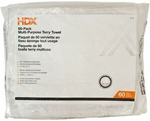 HDX Terry Cleaning Towels (60-Pack), Soft Absorbent Cotton, Safe on All Surfaces