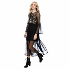 Mesh Floral Dresses for Women with Embroidered