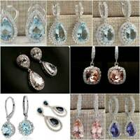 Elegnat Big Sapphire Sapphire Drop Dangle Earrings Fashion 925 Silver Jewelry