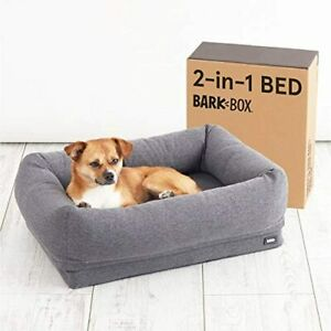 BarkBox 2-in-1 Memory Foam Dog Cuddler Bed | Plush Orthopedic Joint Relief Crate