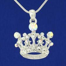 Crown W Swarovski Crystal Royal Princess King Queen New AB Pendant Necklace