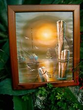 Vintage Oil Painting Canvas Signed PAT SMITH  Boat Harbor Seascape