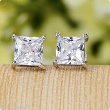 2Pcs 7mm Square Crystal Clear Ear Stud Silver Steel Earrings Womens Men