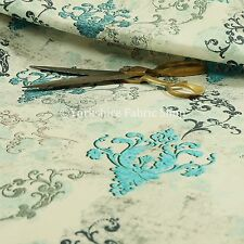 Modern Printed Velvet Teal Blue Grey Damask Pattern Upholstery Furnishing Fabric