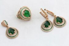 Turkish Jewelry Drop Emerald Topaz 925 Sterling Silver Jewelry Set Ring Size 9