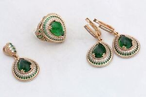 Turkish Jewelry Drop Emerald Topaz 925 Sterling Silver Jewelry Set Ring Size