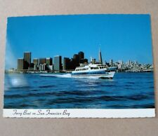 """San Francisco """"New Ferry Boat"""" with Golden Gate Transit Logo City behind  Unused"""