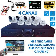 Kit Videosorveglianza 4 telecamere canali AHD IP DVR Infrarossi HD cloud esterno