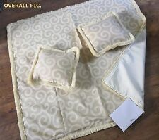 CREAM COTTON DOUBLE BEDSPREAD THROWOVER WIDE RUNNER + 2 CUSHION. KING/SUPERKING