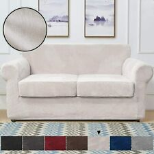3Pcs Velvet Loveseat Couch Cover Sofa Soft Slipcover for 2 Cushion Protect Beige