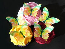 15 PRE-CUT LARGE GREEN MULTI BUTTERFLIES EDIBLE CUP CAKE RICE WAFER PAPER TOPPER
